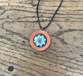 Holzanhänger mit Glas Stern blau