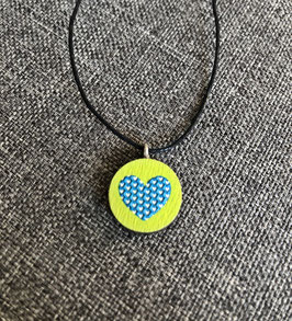 HolzAnhänger Herz blaugrün