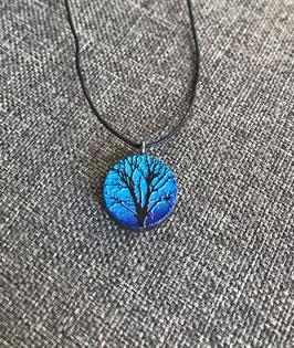 HolzAnhänger Baum blau
