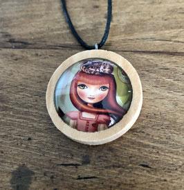 Holzanhänger mit Glas Mädchen mit roten Haaren