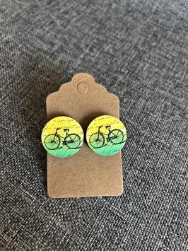 Holzohrstecker Fahrrad gelbgrün