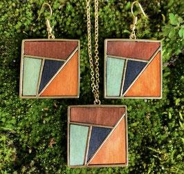 Schmuckset Furnierholz Quadrat