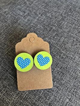 HolzOhrstecker Herz blaugrün