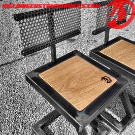 Chaise de salon en acier et bois, design industriel