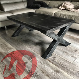 Table basse en acier, design industriel, pieds métallique en X