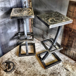 Paire de tabouret de bar, design tout acier