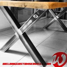Pied de table, haute ou basse, design en acier, pieds métallique en X