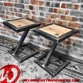 Tabouret de table, design, acier et bois
