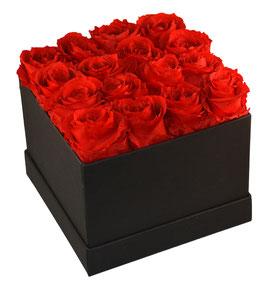 schwarze Streifen 16er Box mit roten Rosen