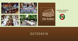 """Wertgutschein für das Restaurant """"Die Kelter"""" in Notzingen"""