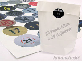 24 Sticker & Tüten weiß - Adventskalender Set