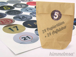 24 Sticker & Tüten braun - Adventskalender Set