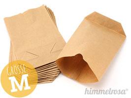 24 Papiertüten, braun mit Boden, Größe M, ca. 16 x 22 cm, Boden 6 cm tief