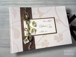 Fotoalbum Callas Perlen Bänder creme braun grün