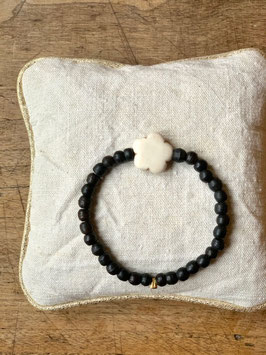 Bracelet femme fleur noir