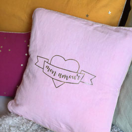 "Coussin ""Mon amour"", Rose perle"