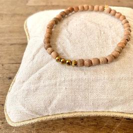 Bracelet femme  naturel et or