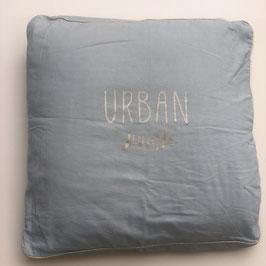 "Coussin ""Urban jungle"" , vert de gris"