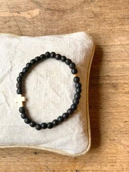 Bracelet femme croix noir