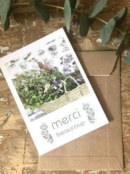 Carte postale vernie MERCI BEAUCOUP