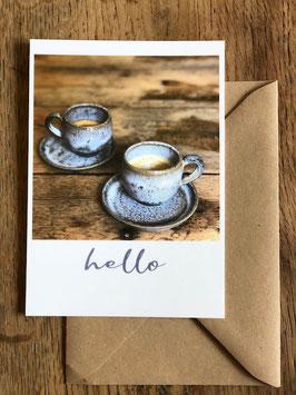 Carte postale vernie HELLO