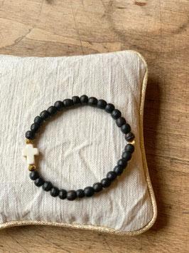 Bracelet femme croix noire et or