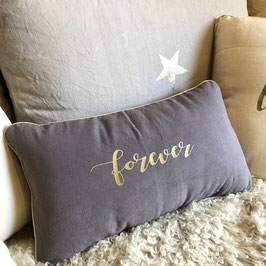 "Coussin ""Forever"", gris parme"