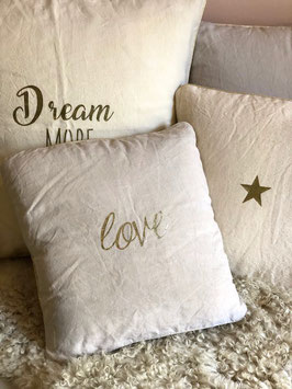 "Coussin ""Love"", lin naturel"
