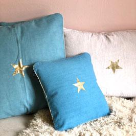 Coussin Étoile, bleu cool