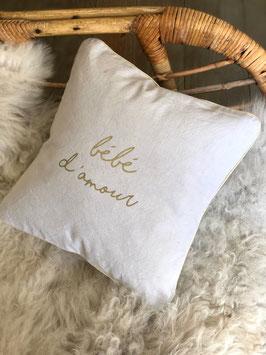 """Coussin """"Bébé d'Amour"""", gris perle"""
