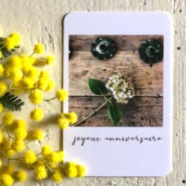 Mini carte JOYEUX ANNIVERSAIRE (hortensia)