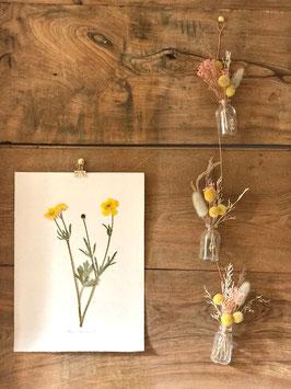 Trio de petites fioles jaune et rose