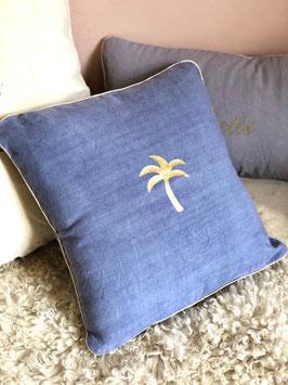 Coussin Palmier, bleu jeans