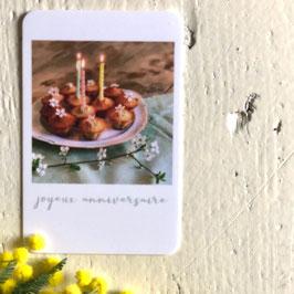 Mini carte JOYEUX ANNIVERSAIRE (gâteaux)