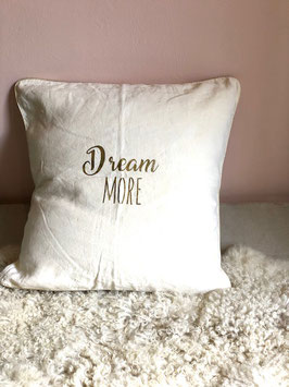 "Coussin ""Dream more"", lin naturel"