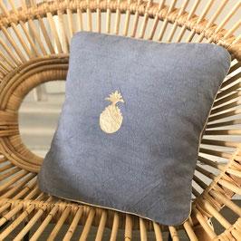 Coussin Ananas, bleu jean clair