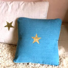 Coussin Étoile, bleu