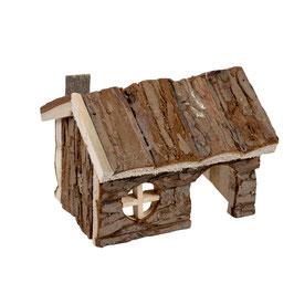Holzlodge aus Rinde nagetier 15x11x12cm