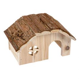 Holzlodge mit Rindendach Nagetier
