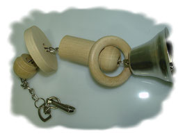 Papageienspielzeug Kette,Holz, Glocke 30 cm