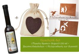 Arganöl + Holzpostkarte