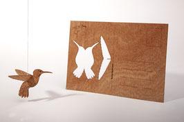 Holzpostkarte Kolibri 5er-Pack