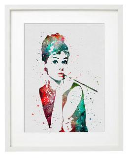 Audrey Hepburn I grau gerahmt