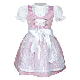 """Festliches Dirndl """"RIA"""" aus Kunstseide in rosa mit Spitze für die Taufe, Hochzeiten oder anderen Anlässen"""