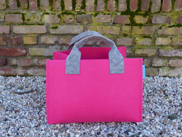 Kaminholzkorb - Filzkörbe pink mit hellgrau (K5018+ 2H 4002 +S5018-2H)