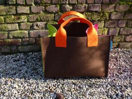 Kaminholzkorb - Filzkorb braun/orange/grün/pink (K5007+H5013+S5018+5033-2H)