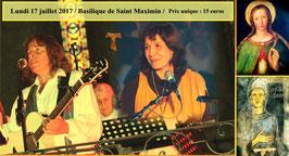 Places pour le concert du 17 juillet 2017 à Saint Maximin la Sainte Baume