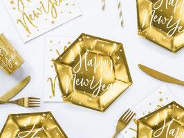 Happy New Year Geschirr Gold