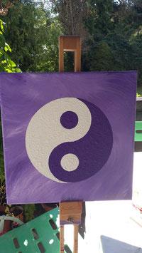 Energiebild Yin & Yang violett/weiß