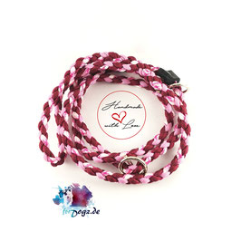 Parachute-Cord Agilityhundeleine (burgundy-lavendar pink-breast cancer awareness)